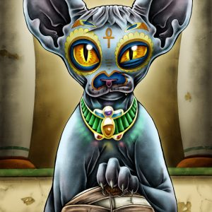Babista sphynx cat art print