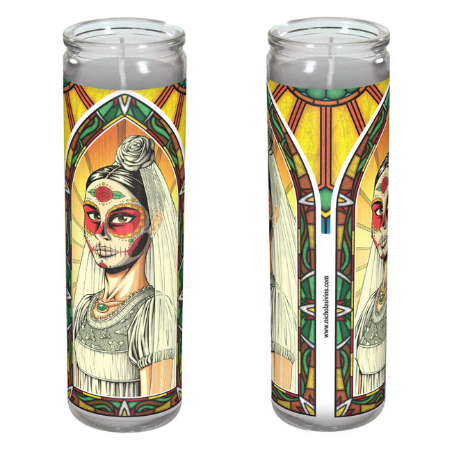 Day of the Dead bride candle