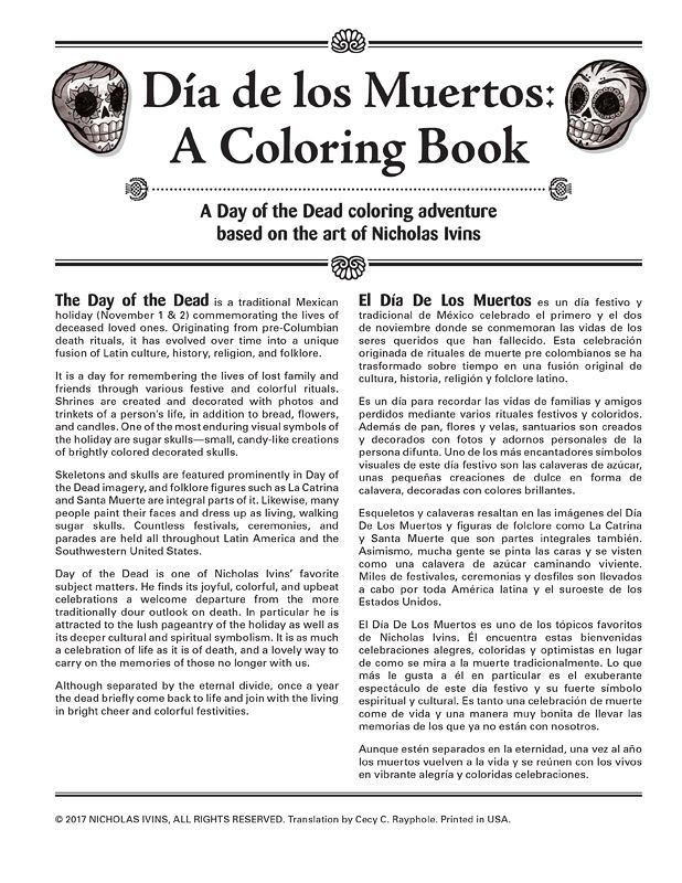 Day Of The Dead Coloring Book For Adults Dia De Los Muertos By