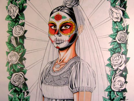 day of the dead bride art print