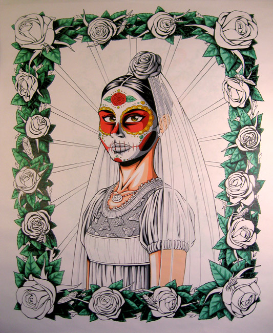day of the dead bride art print