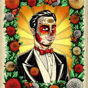 day of the dead groom art print